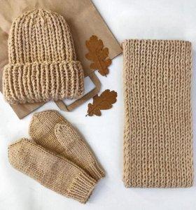 Шапочки, шарфы, варежки ручной работы