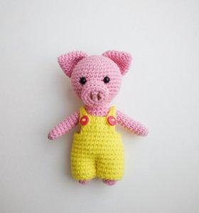 Вязаные игрушки. Свинка. Панда. Единорог