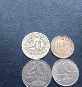 Монеты довоенной Прибалтики Эстония Латвия