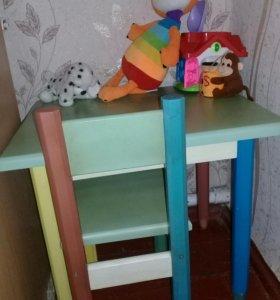 Акция!Детский деревянный стол и стул!