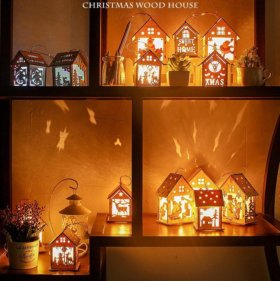 новогодний ночник деревянный домик. подарок