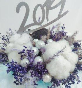 Новогодняя композиция из сухоцветов