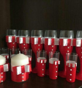 Свадебные, новогодние бокалы и свечи, украшение
