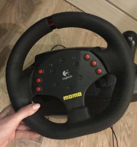 Игровой руль с вибро+педали