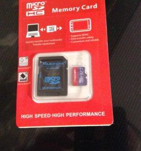 Карта памяти MicroSD SD 32 гБ. class 10 Новая