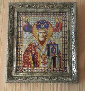 Алмазная мозаика икона Николая Чудотворца