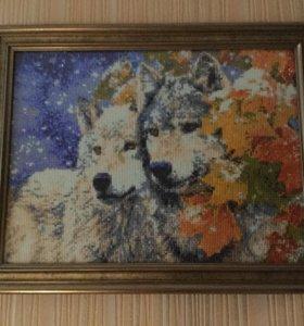 Алмазная мозаика. Два волка.