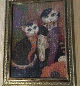 Алмазная мозаика. Кошечки.