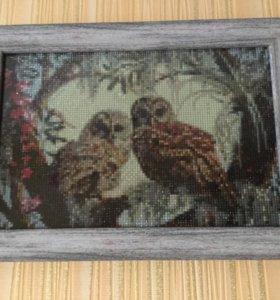 Алмазная мозаика. Две совушки.