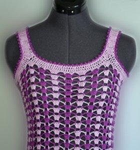 Пляжное вязаное платье 40-44 размера.