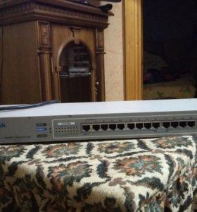 Концентратор сетевой разветвитель D-Link DE-816TP