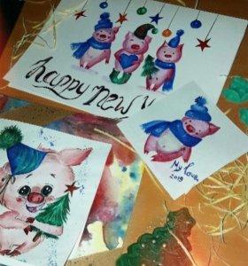Новогодние открытки 🎄🎁