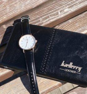 Портмоне Baellerry Leather+Часы Daniel Wellington