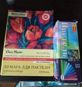сухая пастель +бумага для пастели(в подарок)