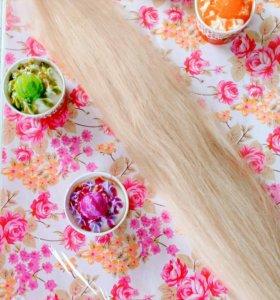 Продам натур.волосы блонд 70см.капсулированные!