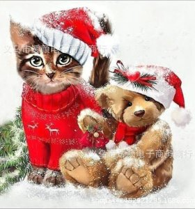 Алмазная живопись Кот и мишка