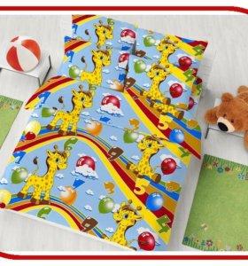 Детское постельное белье хлопок 1,5  Жирафы