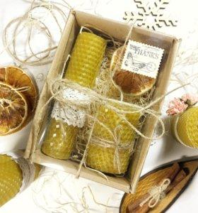 Медовые свечи в подарочной упаковке