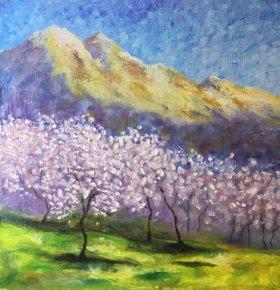 Картина маслом в интерьер «Весной в горах»