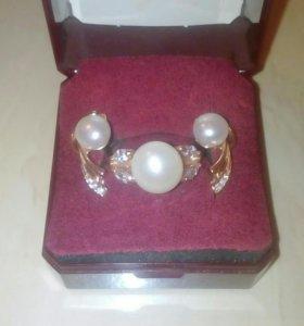 Серьги+кольцо жемчуг