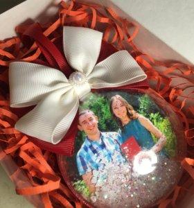 Подарок елочный шар с фото