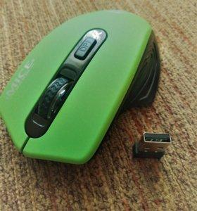 🖱Беспроводная оптич. мышь.Зеленая.2000dpi.Silence