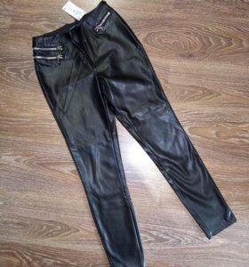 Новые брюки Reserved кожзам