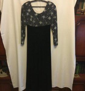 Платье женское вечернее, бархат, черный цвет