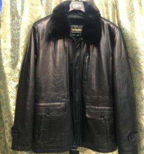 Мужская утепленная кожаная куртка