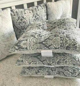 Набор в кроватку бортики-подушки и простыня