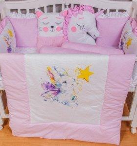 Новый в кроватку Бортики постельное белье комплект