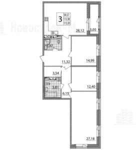Квартира, 3 комнаты, 115.9 м²