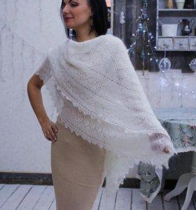Оренбургский пуховый платок (ручная работа) новый