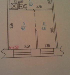 Квартира, 1 комната, 23.5 м²