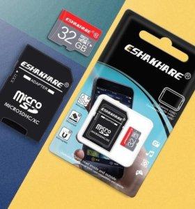 MicroSD 32 gb, 10 класс, скорость записи 14,14 mb