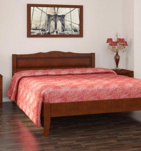 Кровать деревянная с элементами из МДФ
