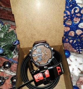 Подарочный набор мужчине часы + ремень diesel