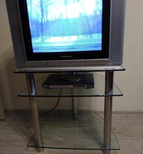 Телевизор Panasonic, DVD, полка под телевизор