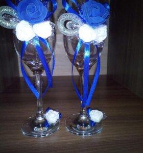 Свечи,букеты,бокалы свадебные