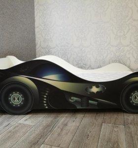 Кровать-машинка с ортопедическим матрасом