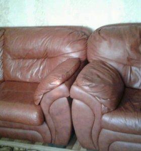 Диван и кресло (натуральная кожа)