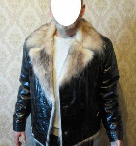 куртка кожа короткая мех опоссум giove