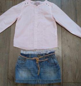 Юбка Бенеттон и 2 блузы на 3-4 года