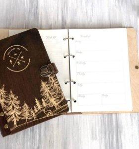 Блокнот/ежедневник с деревянной обложкой