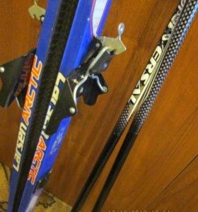 Лыжи stels, ботинки и палки.