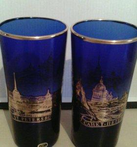 Шикарные синие стаканы с позолотой