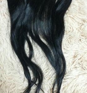 Натуральные волосы на заколках,бу,45см для обьема