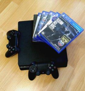 PS4 slim 1000gb + 2 джойстика + Эксклюзивы