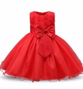 Красное праздничное платье рост 110-116