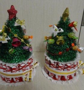 Сладкие подарка из конфет, Ёлочка и Снеговик